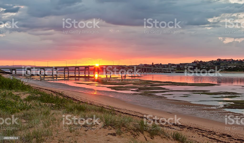 Phillip Island Bridge on Sunrise stock photo