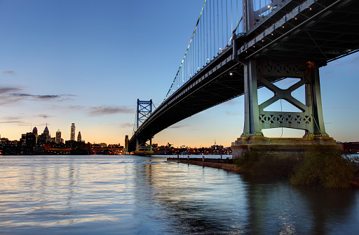 Philadelphia skyline as seen from across the Delaware river at dusk.  On the right the Ben Franklin Bridge  a suspension bridge across the Delaware River connects Philadelphia and Camden, New Jersey. Philadelphia is the largest city in the Commonwealth of Pennsylvania and the fifth-most-populous city in the United States