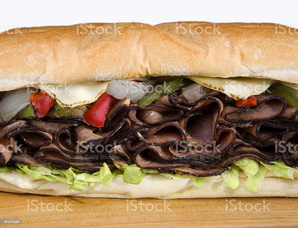 Philly Steak Prime Rib Sub Sandwich royalty-free stock photo