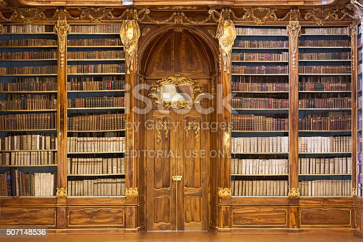 Prague, Czech Republic - January 04, 2014: Philosophical Hall of the Strahov Monastery Library