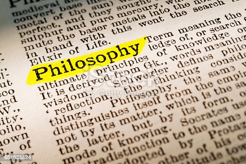 The term Philosophy - dictionary definition highlighted with yellow marker