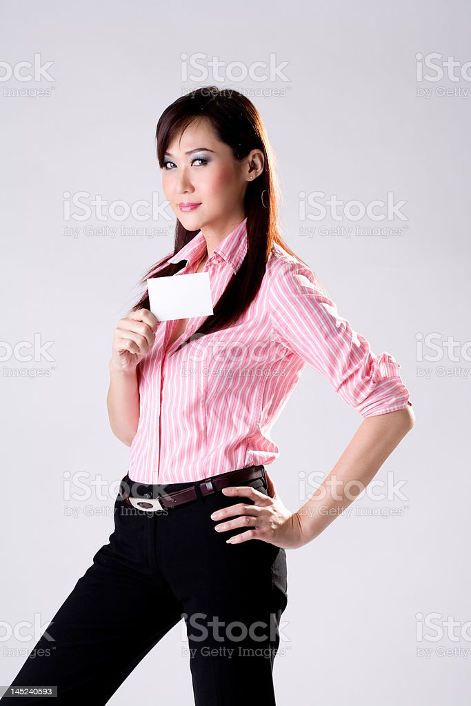 phink shirt business woman with card royalty-free stock photo