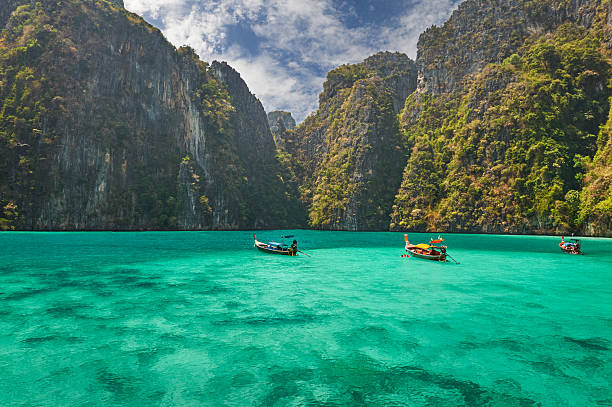 phi-phi island, krabi province, thailand. - phuket stock photos and pictures
