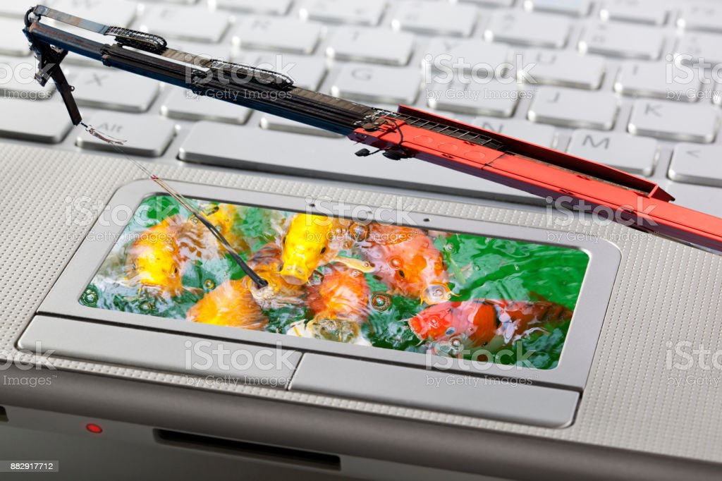 Phishing attack of computer system stock photo