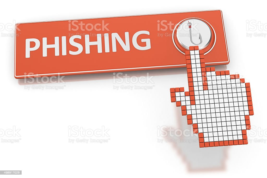 Phishing - Button stock photo