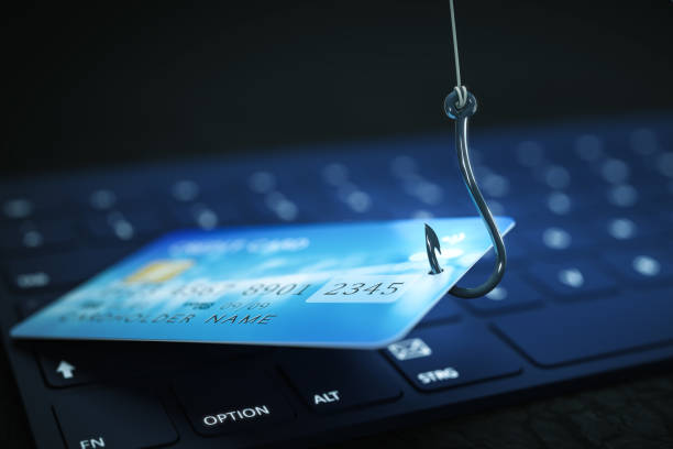phishing credit card data with keyboard and hook symbol - phishing stock photos and pictures