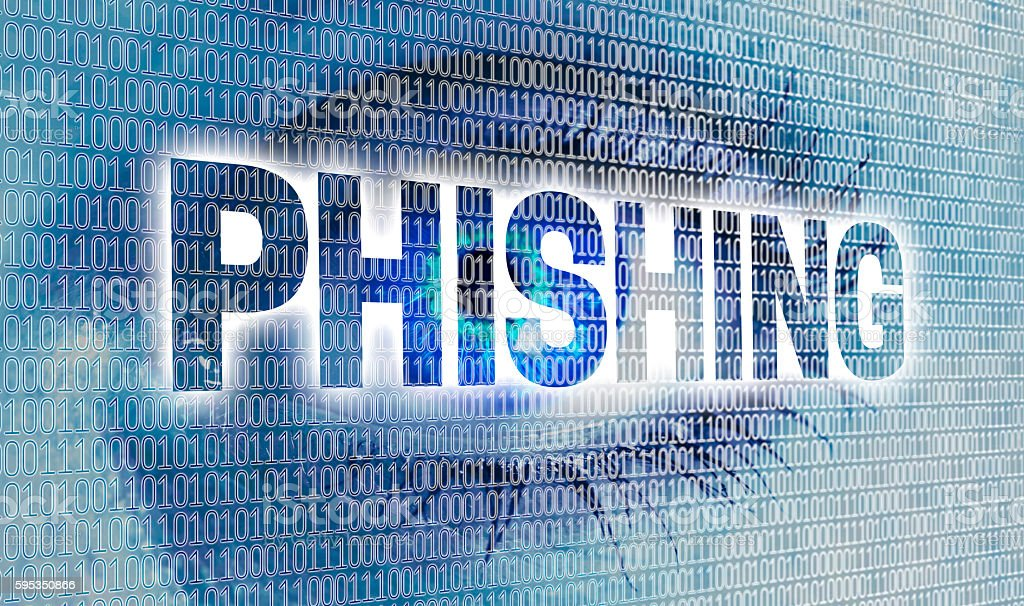 Phishing eye with matrix looks at viewer concept stock photo