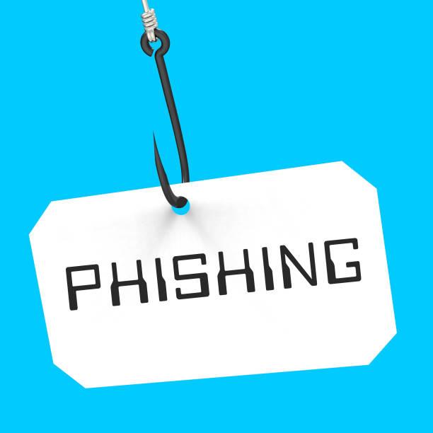 phishing-haken identität kriminalität alert 3d-rendering - bankhaken stock-fotos und bilder