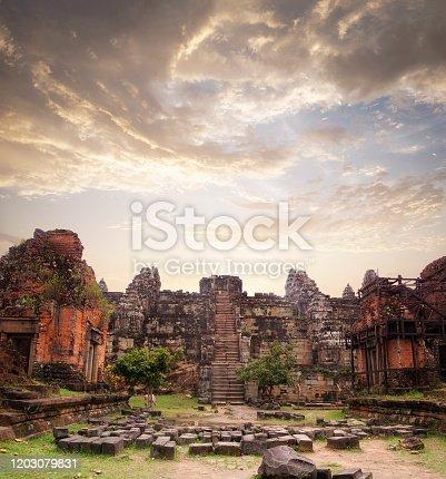 Phnom Bakheng Temple Near Angkor Wat In Cambodia