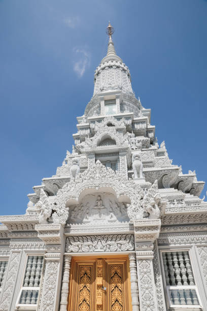 Phnom Oudong Buddhist temple in Cambodia stock photo