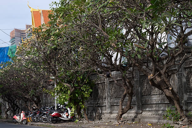 Phnom Penh Temple Wat Langka, complete with motorbikes. Phnom Penh, Cambodia apostrophe stock pictures, royalty-free photos & images
