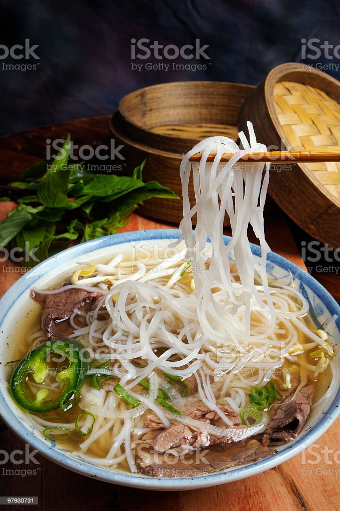 Pho, Beef Noodle Soup. stock photo