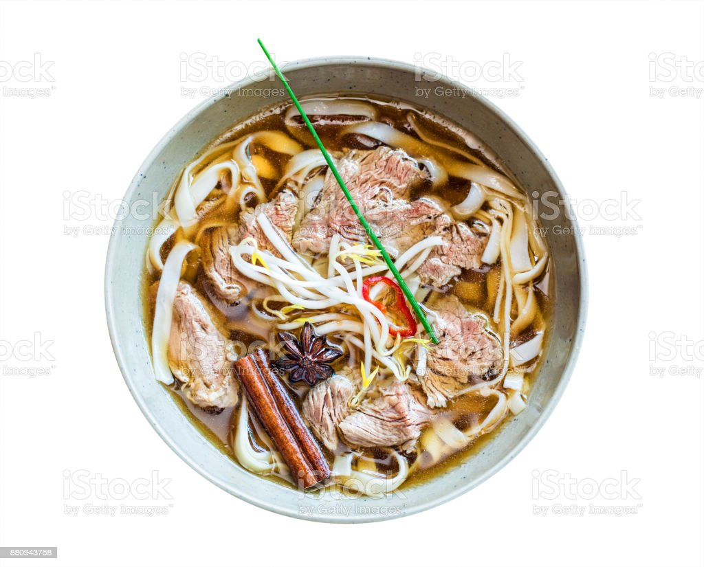 Pho bo noodle soup stock photo