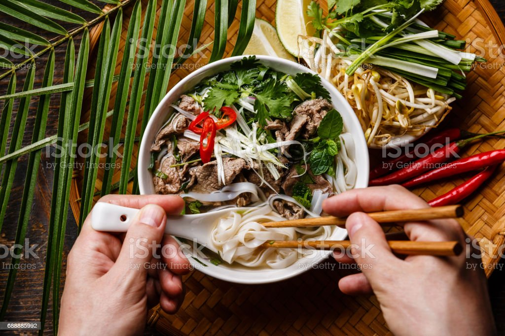 Pho Bo Soup with beef stock photo