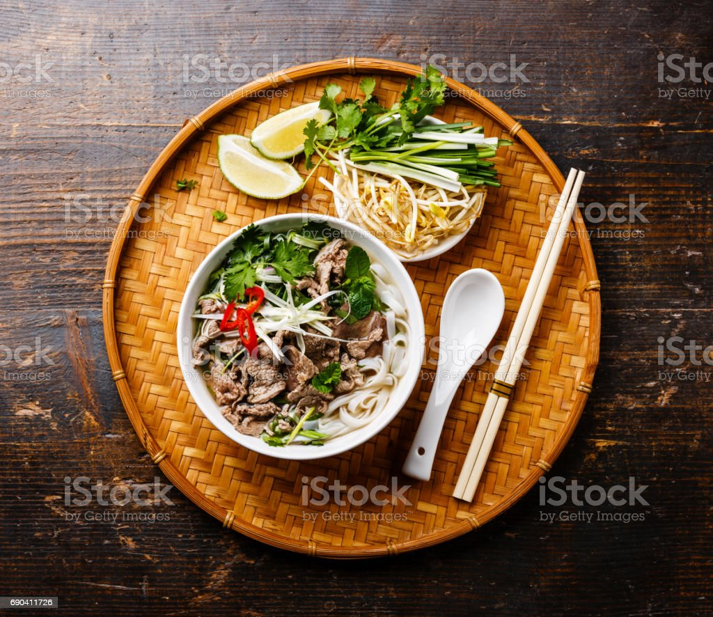 Pho Bo vietnamese Soup stock photo