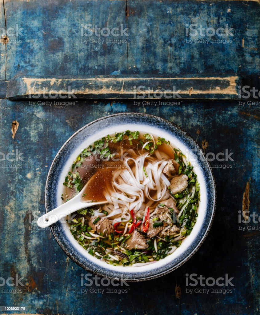 Pho Bo vietnamese Soup with beef stock photo