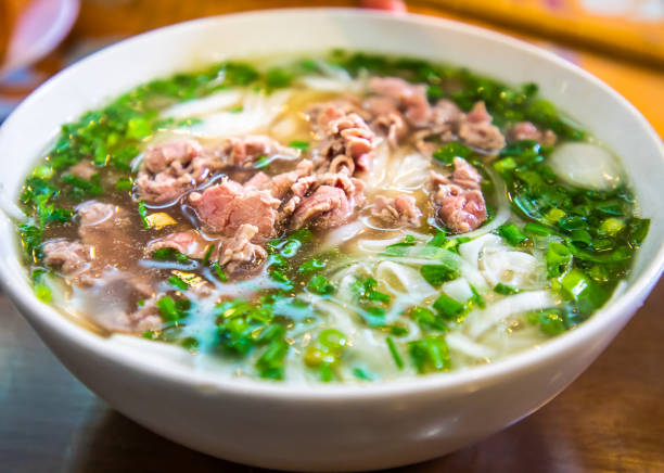 pho in ha noi, vietnam - pho soup stock photos and pictures