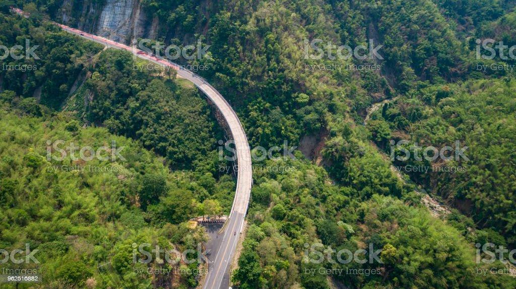 Pho Khun Pha Muang bridge. The high concrete bridge in Phetchabun province, Thailand. Connect northern to northeast. - Royalty-free Asphalt Stock Photo