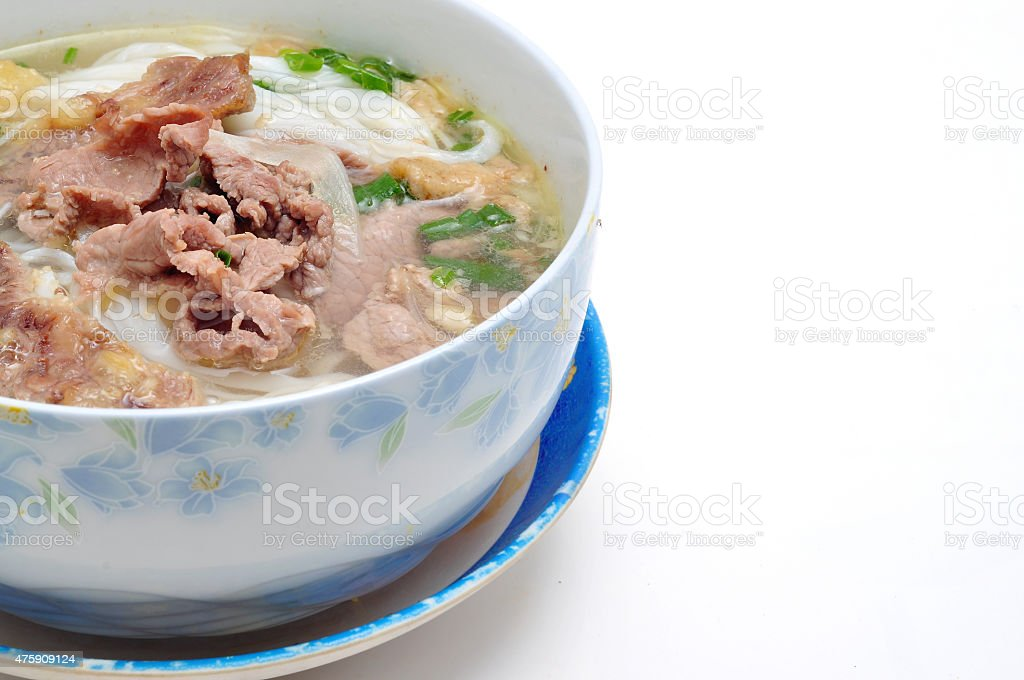 Pho or Vietnamese rice vermicelli noodle with beef or chicken stock photo