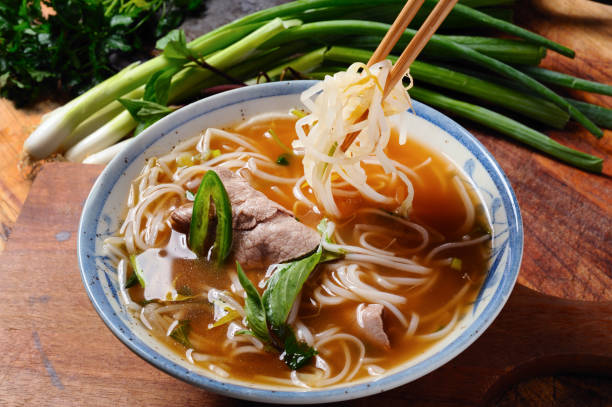 pho - pho soup stock photos and pictures