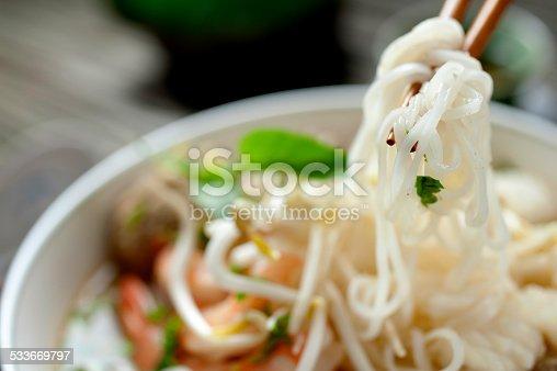 Pho, rice noodle soup.