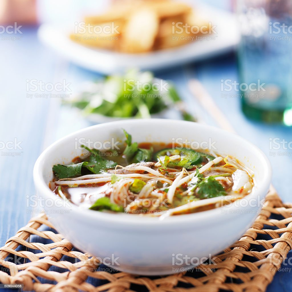 pho tai beef vietnamese soup in bowl stock photo