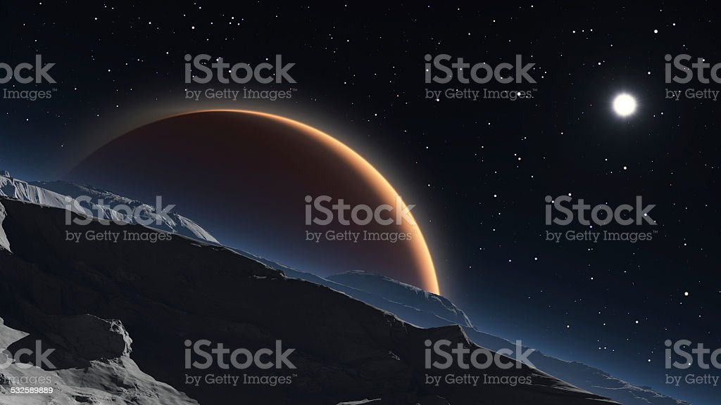 Phobos with the red planet Mars in the background stock photo