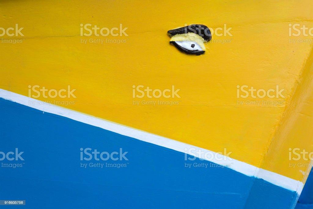 Phoenician eye of Osiris on traditional Maltese fishing boat Luzzu stock photo