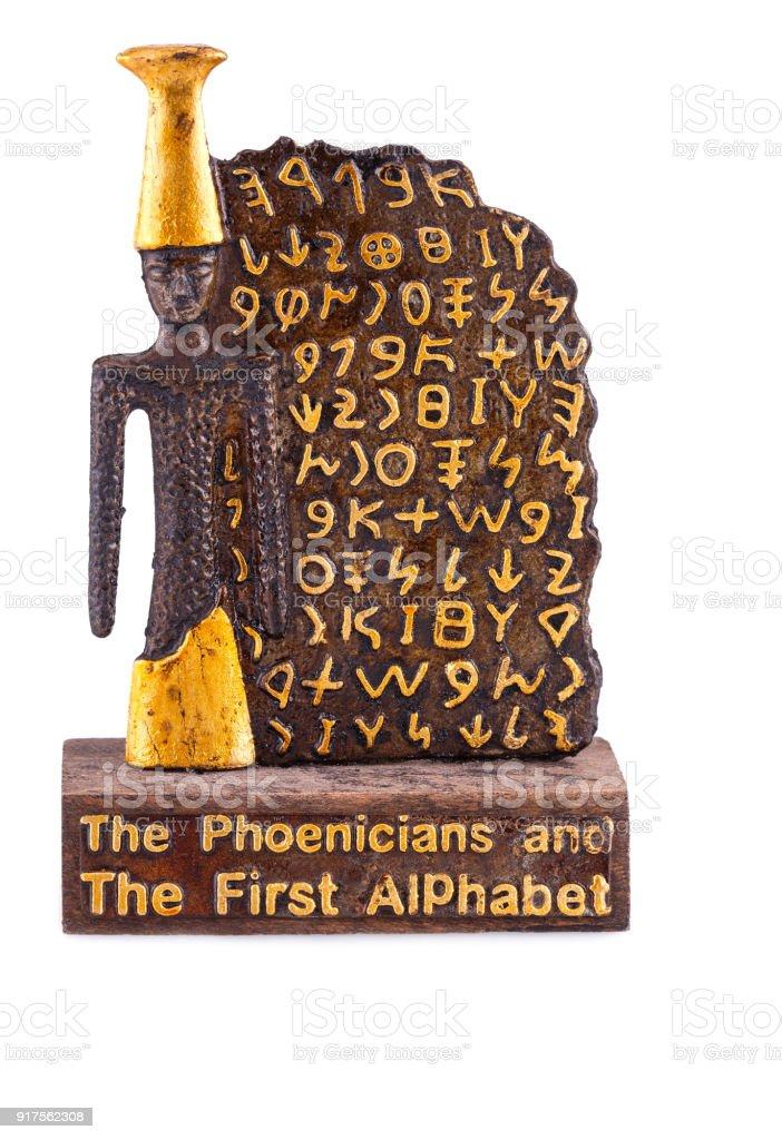 Phoenicians alphabet souvenir stock photo