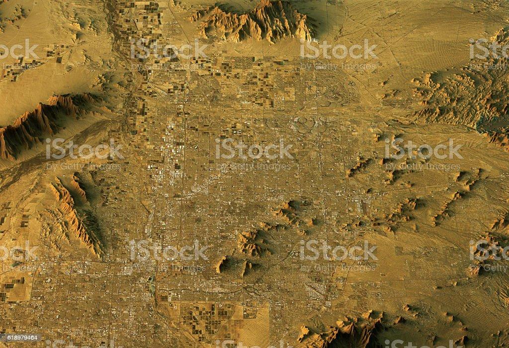 Phoenix 3D Landscape View East-West Natural Color stock photo