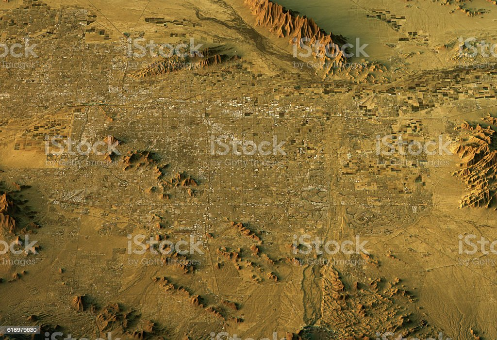 Phoenix 3D Landscape View North-South Natural Color stock photo