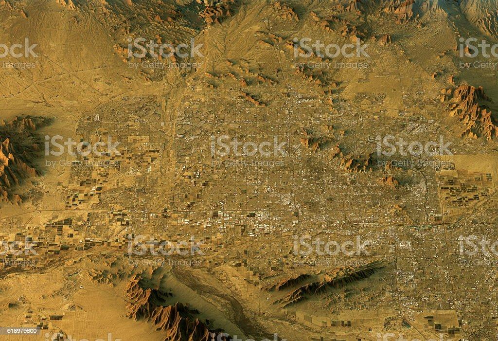 Phoenix 3D Landscape View South-North Natural Color stock photo