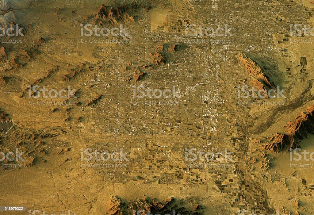 Phoenix 3D Landscape View West-East Natural Color stock photo