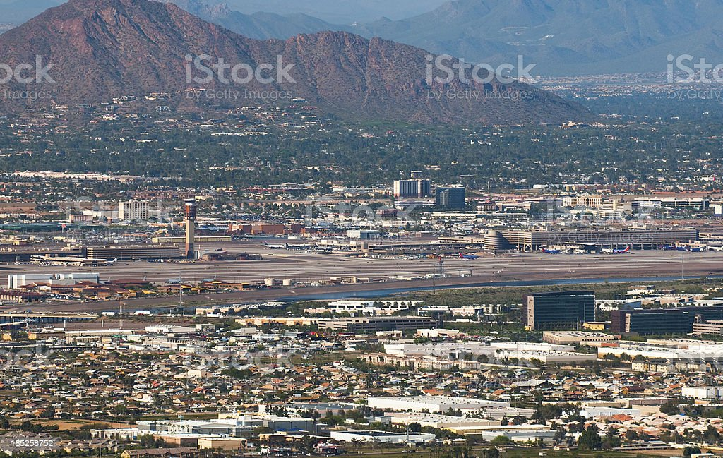 Phoenix Airport aerial view stock photo