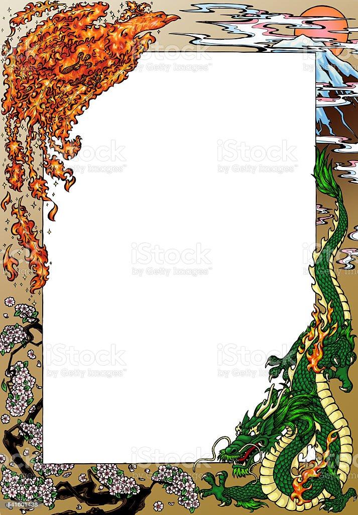 Phoenix and dragon against Fujiyama стоковое фото