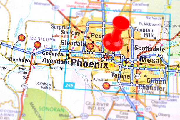 Phoenix and Map stock photo