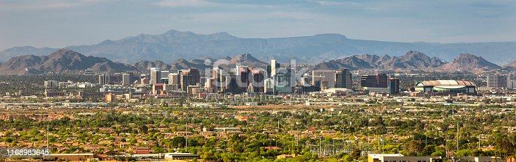 Cityscape mountain range view of Phoenix and Scottsdale Arizona USA