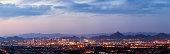 A panorama of Phoenix and Scottsdale Arizona at dusk.