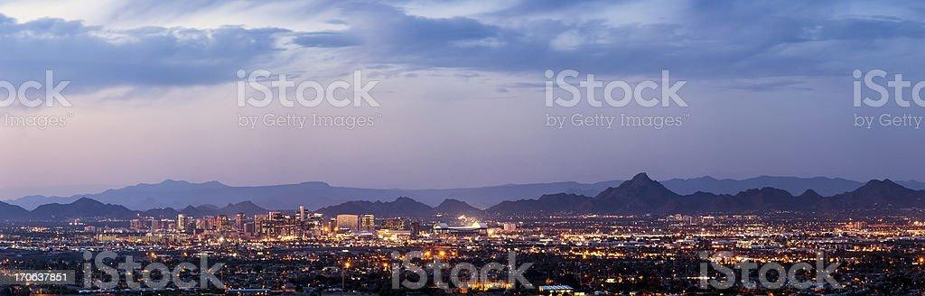 Phoenix and Scottsdale dusk panorama stock photo