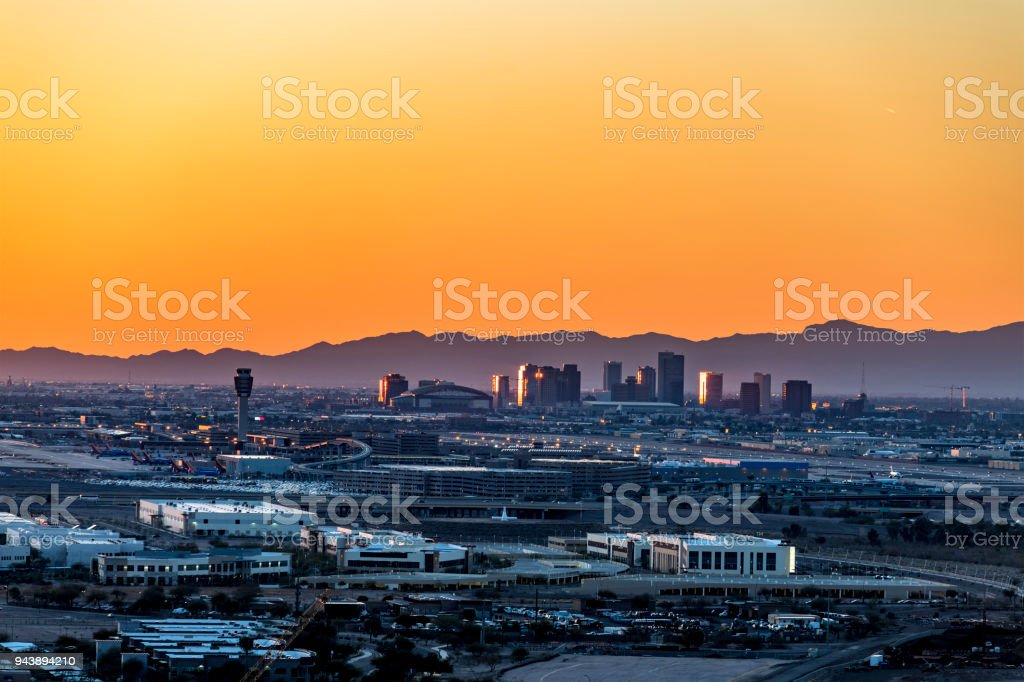 Phoenix Arizona City Overlook at sunset stock photo