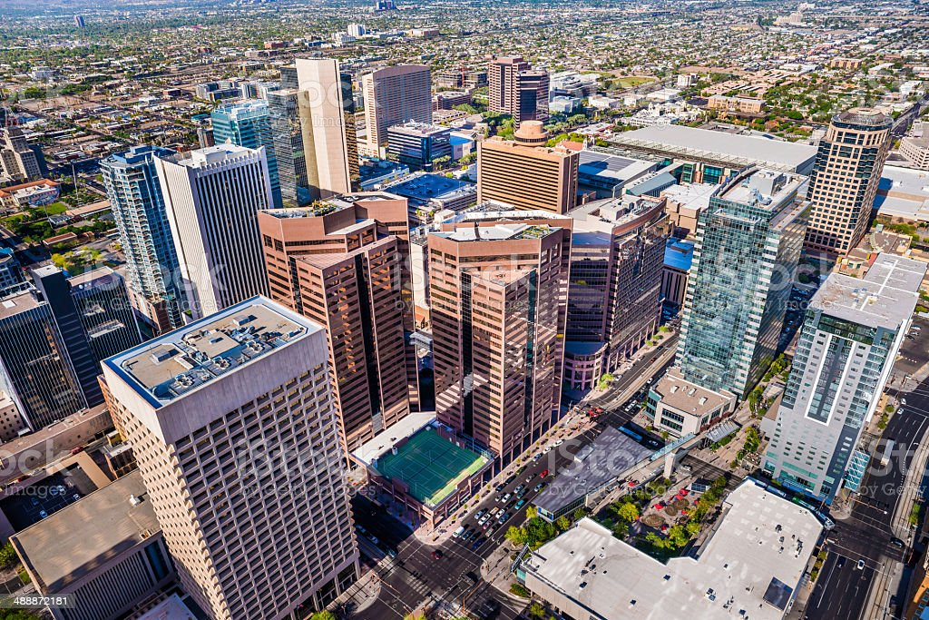 Phoenix Arizona, looming aerial view of downtown cityscape skyline skyscrapers stock photo