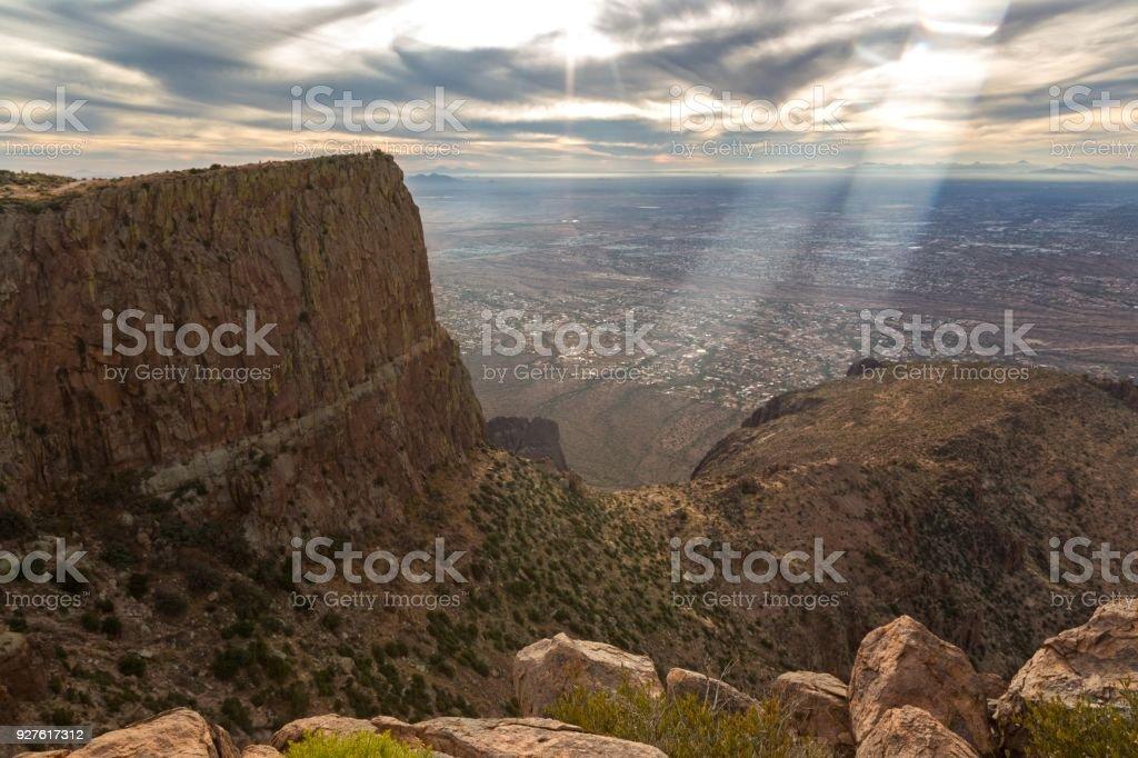 Phoenix Arizona Metropolitan Area from Flatiron Peak in Lost Dutchman State Park stock photo