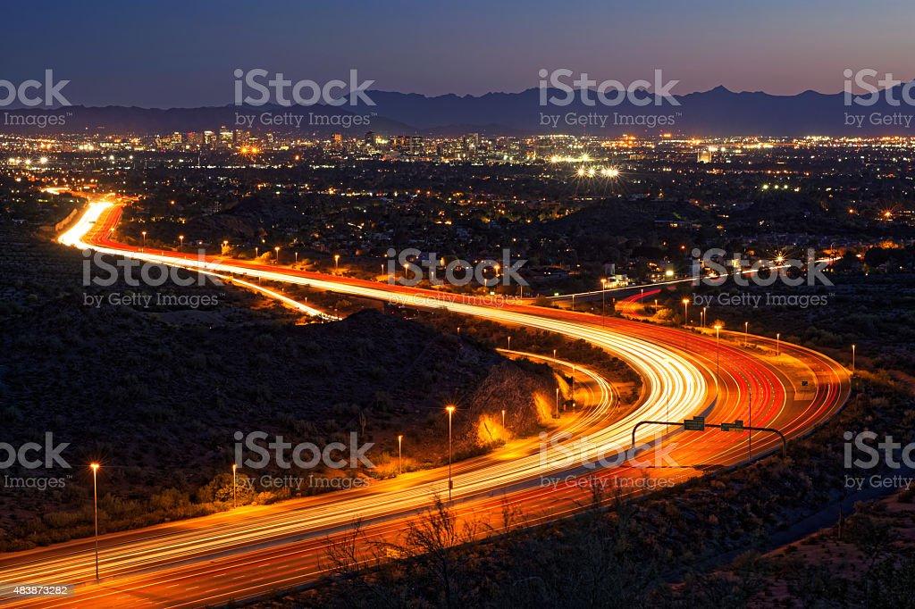 Phoenix, Arizona night cityscape (twilight version) stock photo