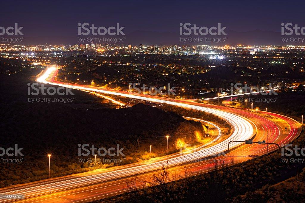Phoenix, Arizona night cityscape (night version) stock photo