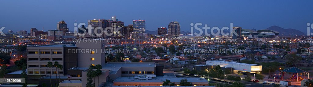 Phoenix Arizona Skyline and Office Buildings as Darkness Falls royalty-free stock photo