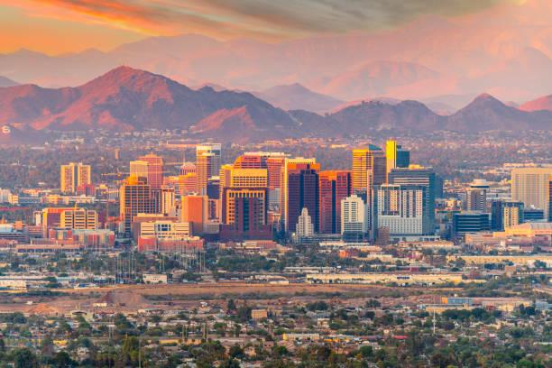 Phoenix, Arizona skyline at dusk stock photo