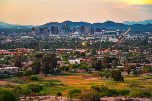 Phoenix Arizona skyline at sunset stock photo
