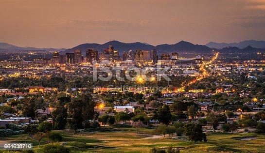 aerial view of Phoenix Arizona skyline at sunset