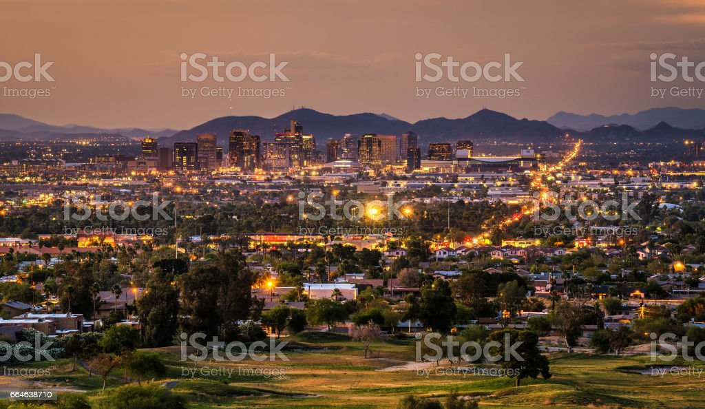 Phoenix Arizona skyline at sunset stock photo
