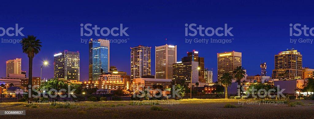 Phoenix Arizona skyline panorama cityscape skyscrapers downtown, palm trees, night stock photo